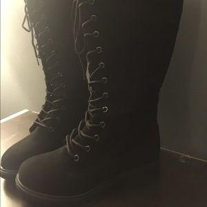 Bamboo Suede Black Knee High Boots